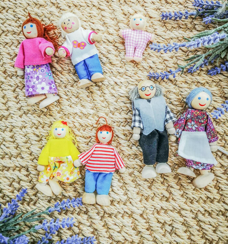 Wooden Dolls Miniature Family - 7 People Set