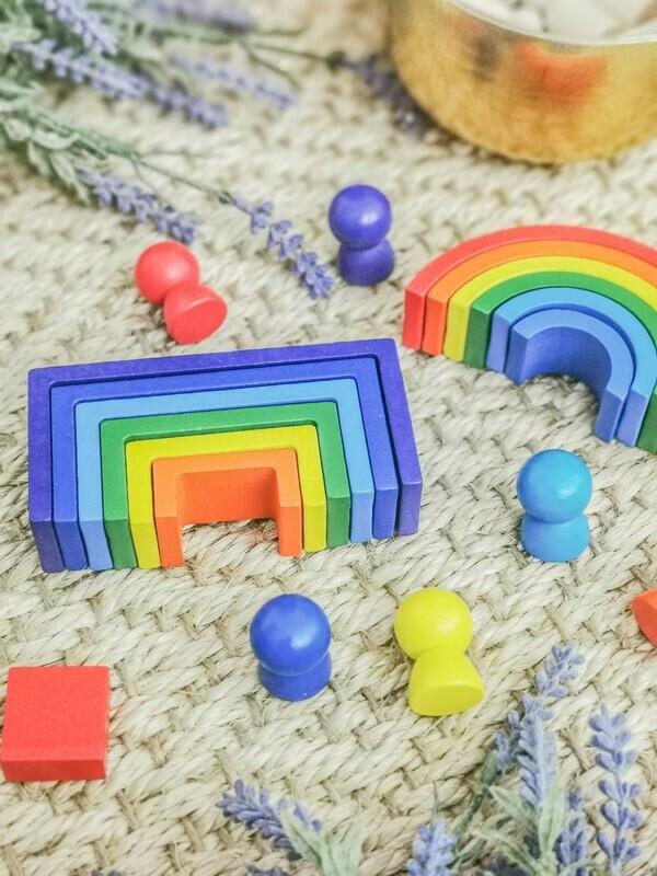 Mini Wooden Rainbow Stacker & Peg Dolls