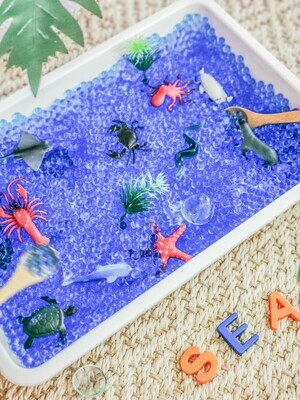Ocean Water Beads Sensory Tray