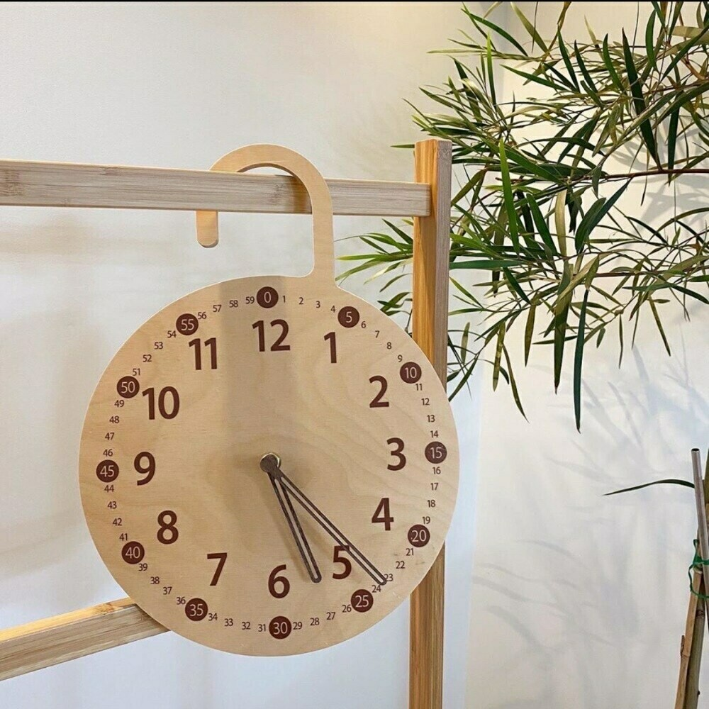 Wooden Hanging Education Working Clock