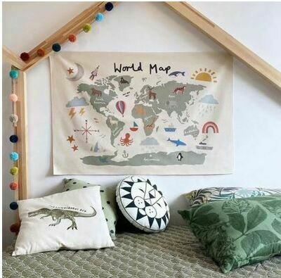 World Map Wall Hanging Canvas