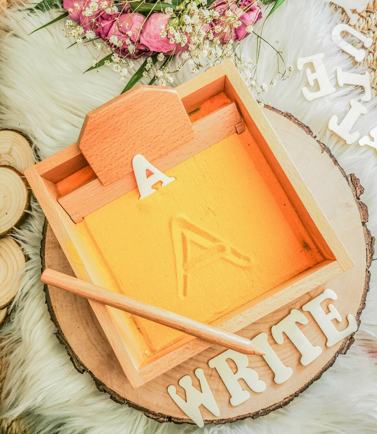 Letter Formation Sand Tray with a Wooden Pen