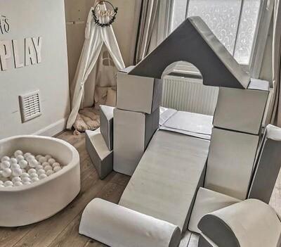 Soft Foam Play 15 Piece Set - Mega House Grey and White