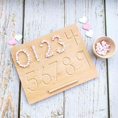 Wooden Preschool Groove Writing/Tracing Board - Numbers