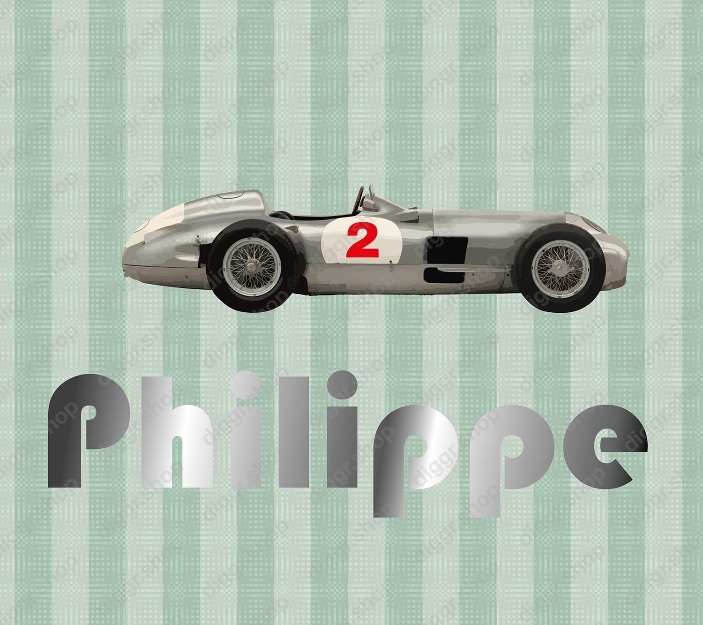 Geboortekaartje Mercedes zilver pijl (246)