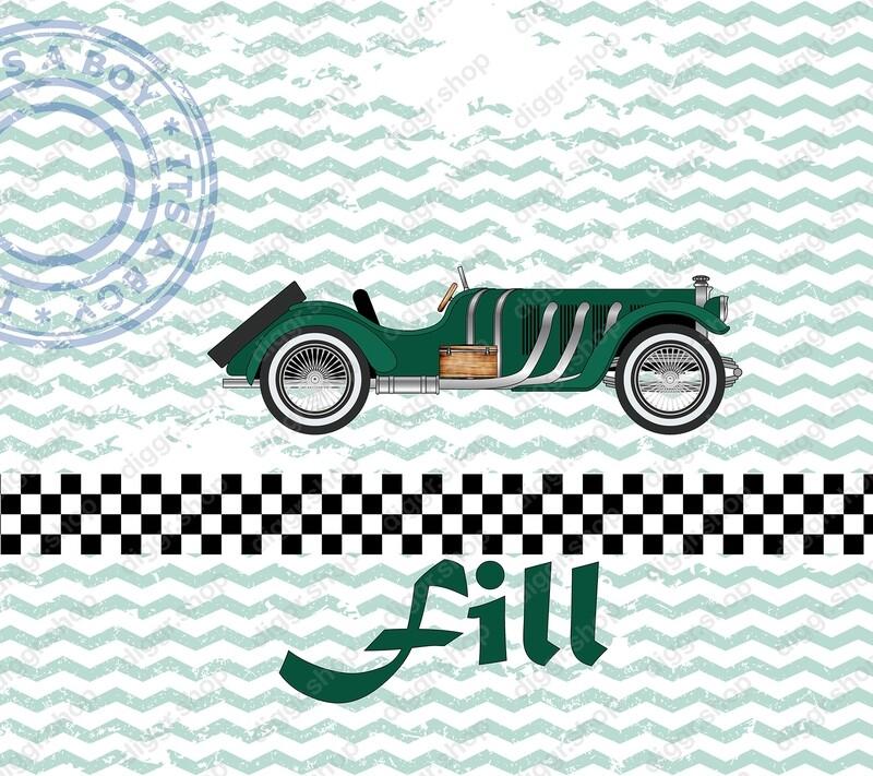 Geboortekaartje Race auto (256)
