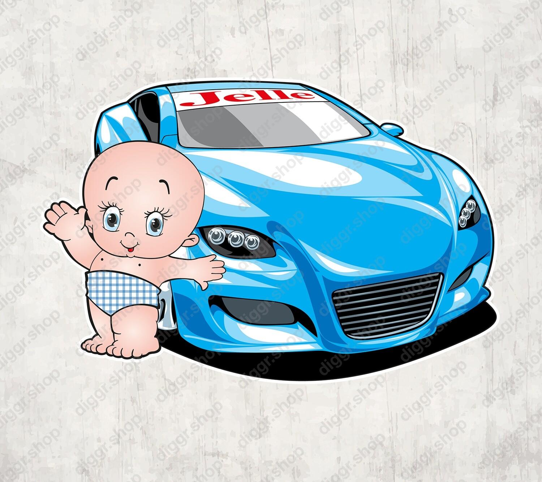 Geboortekaartje Blauwe sportwagen (1315)