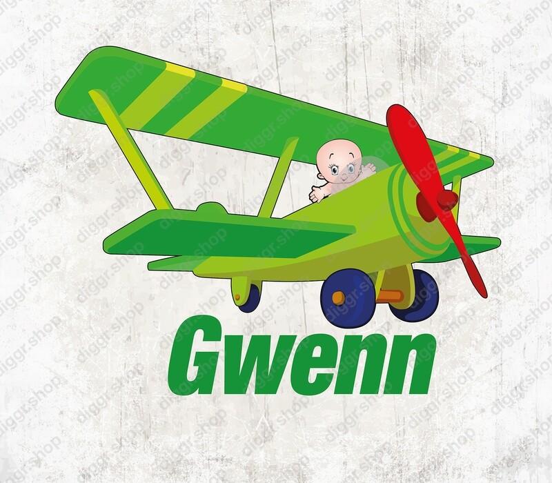 Geboortekaartje Baby & speelgoed vliegtuig 2 (1537)
