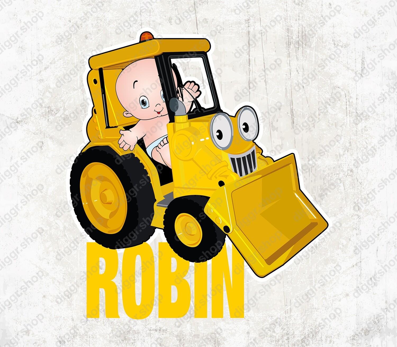 Geboortekaartje Baby & speelgoed bulldozer 2 (1538)
