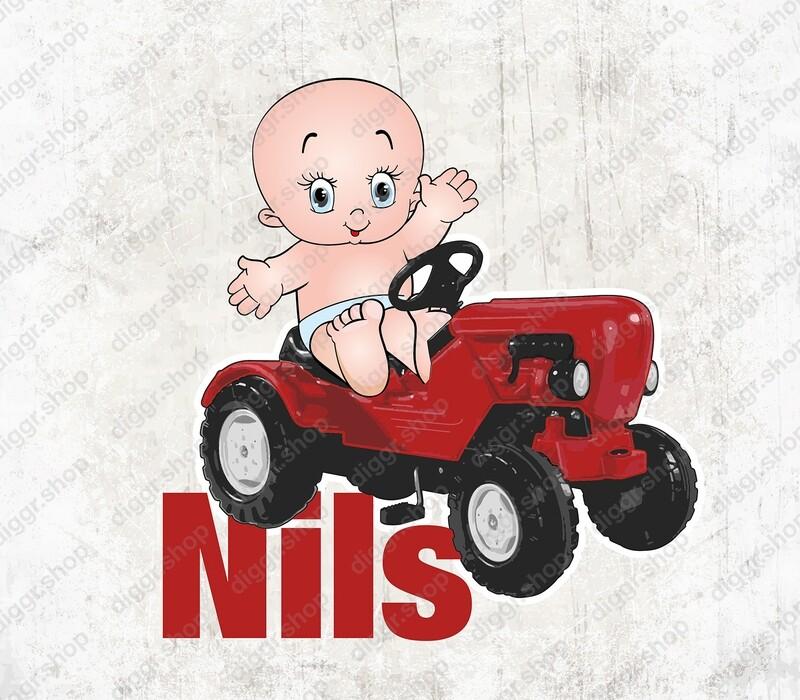 Geboortekaartje Baby & speelgoed tractor (1539)