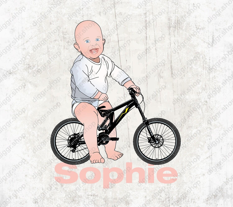 Geboortekaartje Baby op fiets (2104)