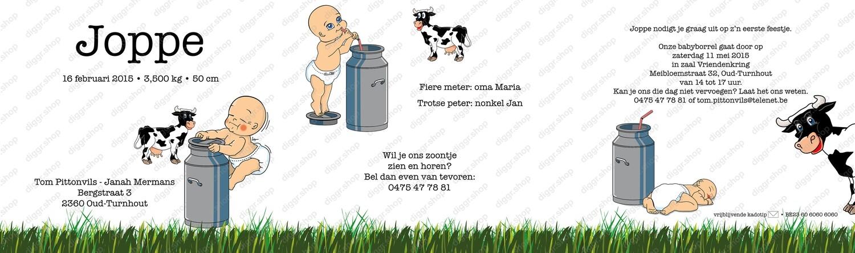 Geboortekaartje Koe & melkkit (344)