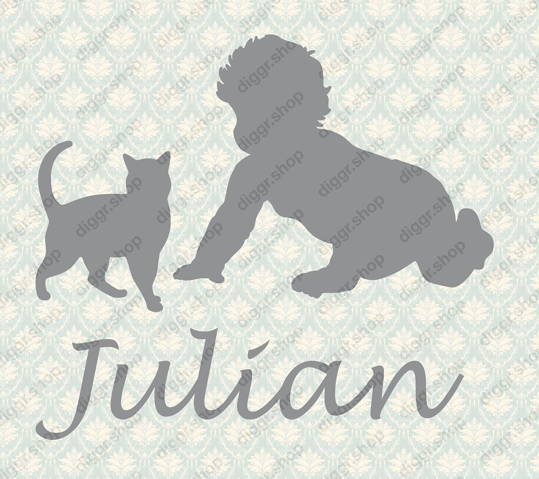 Geboortekaartje Kruipen met kat (357)