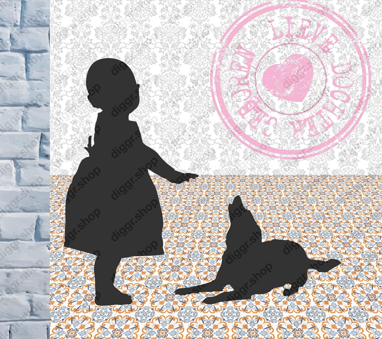 Geboortekaartje Meisje met hond (364)