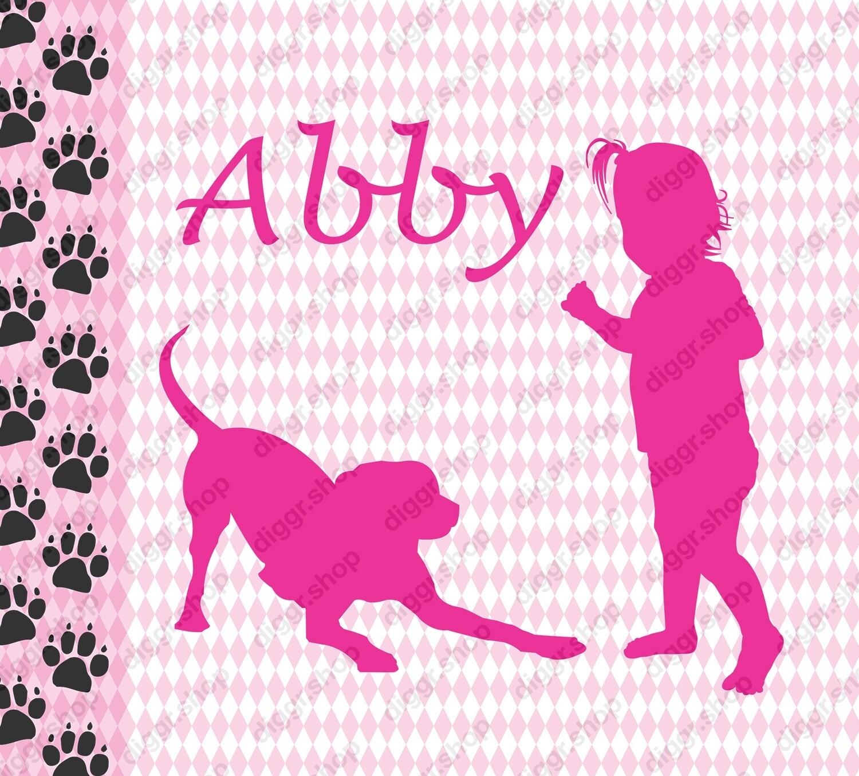 Geboortekaartje Meisje en hond (360)