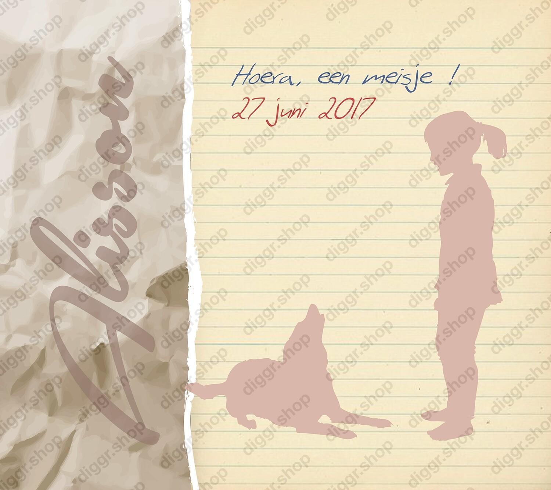 Geboortekaartje Lijntjespapier en hond (359)