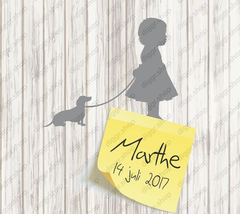 Geboortekaartje Meisje & hond III (370)