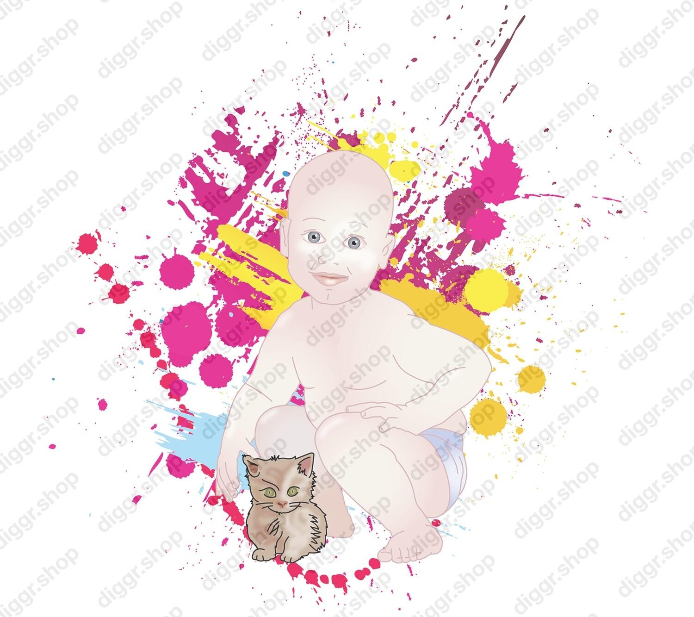 Geboortekaartje Met kitten (382)
