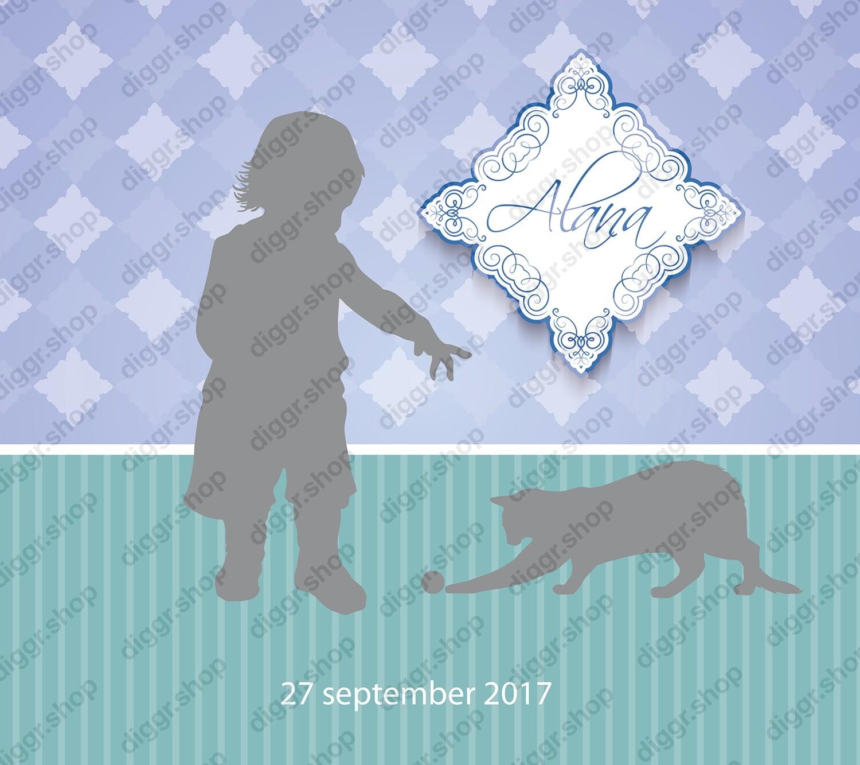 Geboortekaartje Spelende kat (418)