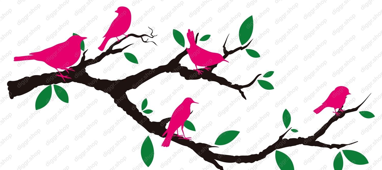 Geboortekaartje Tak en vogels (421)