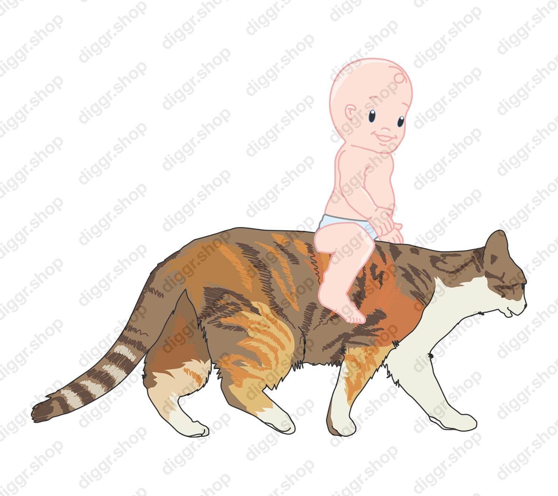 Geboortekaartje Rijden op kat (411)