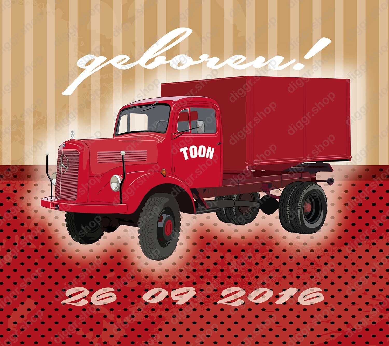 Geboortekaartje Mercedes vintage truck (936)