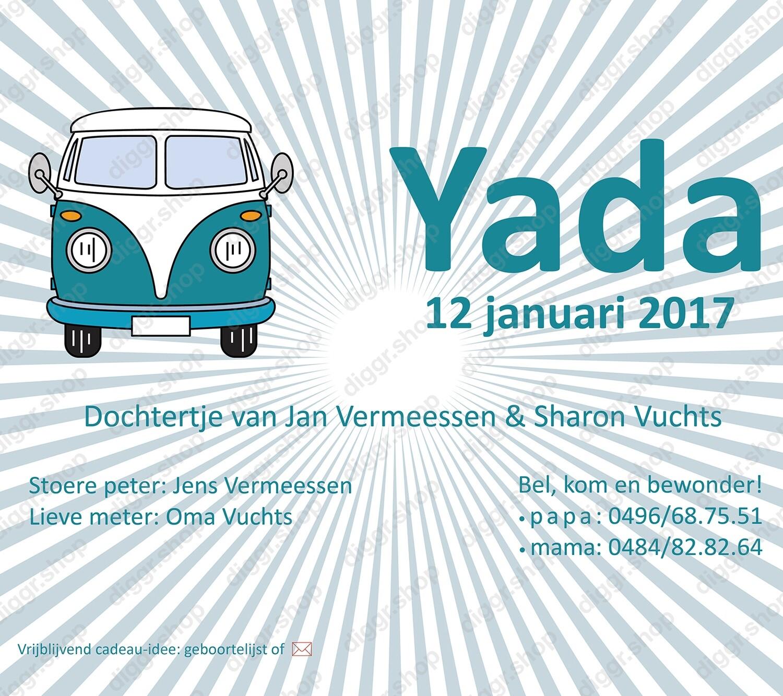Geboortekaartje VW bus front (969)