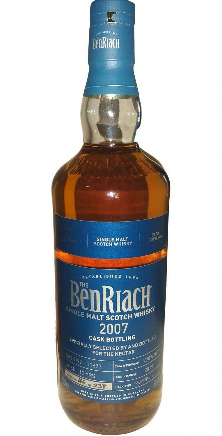 BenRiach 2007 Single Cask Rum Barrel 12 Years 61.5% 70CL
