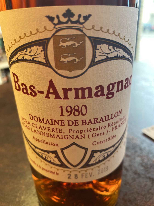 Bas-Armagnac Domaine De Baraillon 1980 45% 70 CL
