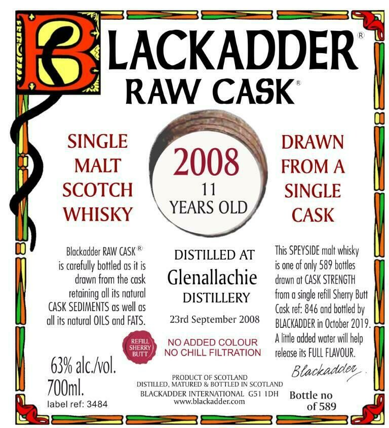 GlenAllachie Black Adder Raw Cask 2008 11 Years 63% 70CL