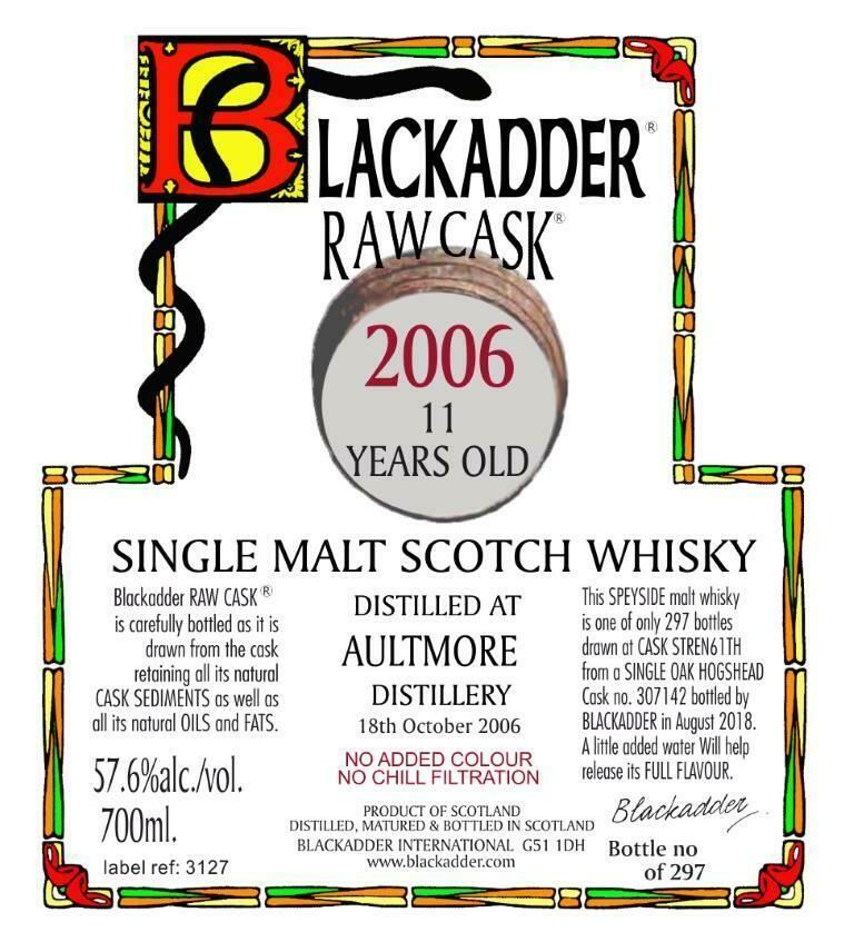 Aultmore 2006 11 Years  Black Adder  57.6% 70CL