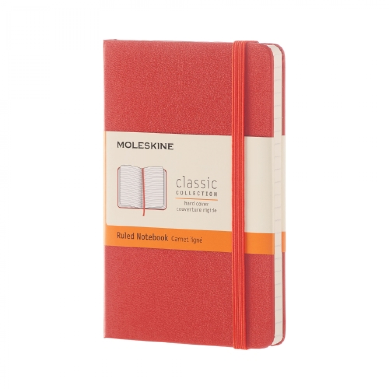 Moleskine notebook pocket koraalrood gelijnd