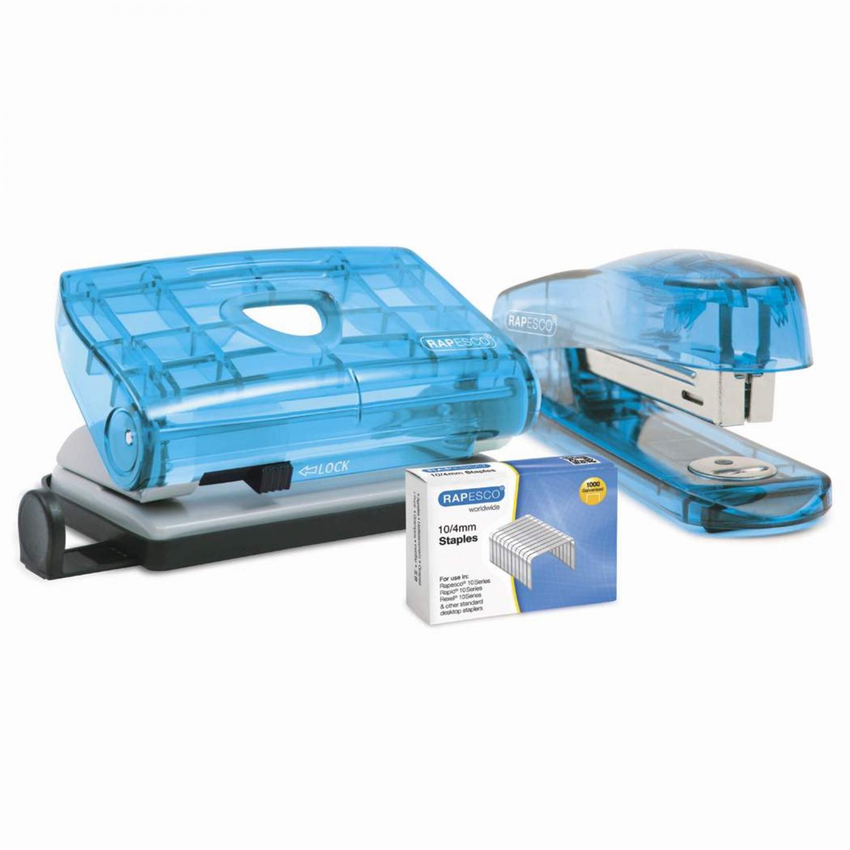 Rapesco Perforator + Nietmachine + gratis doos nietjes n° 10 - BLAUW