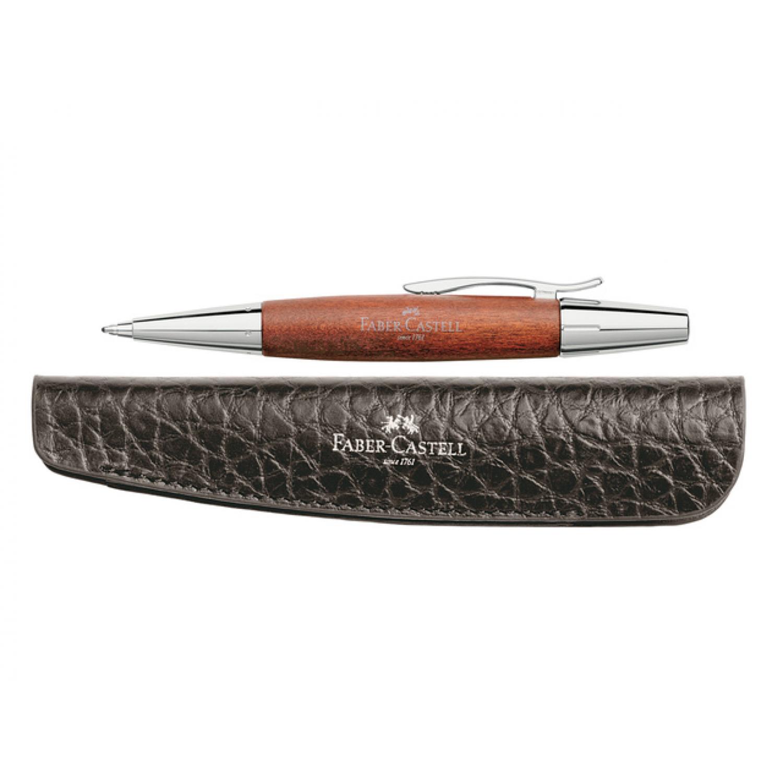 Faber-Castell Balpen E-motion bruin perenhout + GRATIS etui