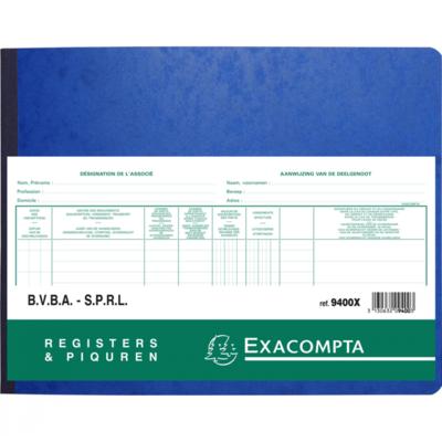 Exacompta aandeelhouder register voor BVBA