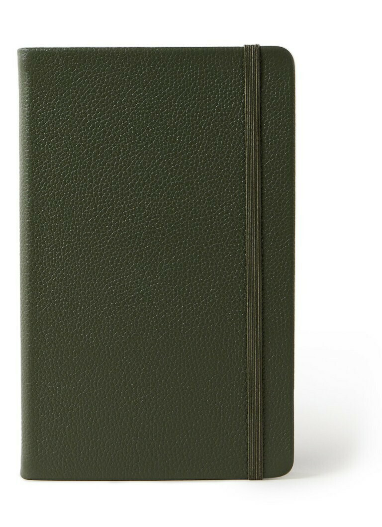 Moleskine large Classic Leather collection gelijnd groen