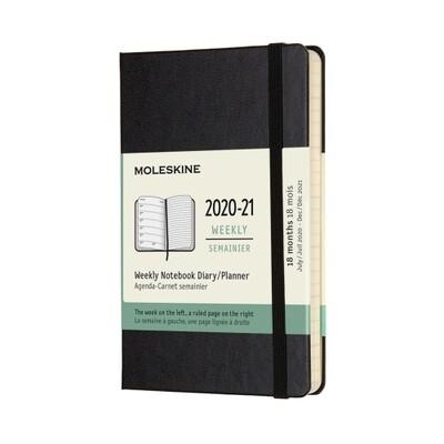 Moleskine Agenda large weekly notebook zwart 2020-2021- harde kaft
