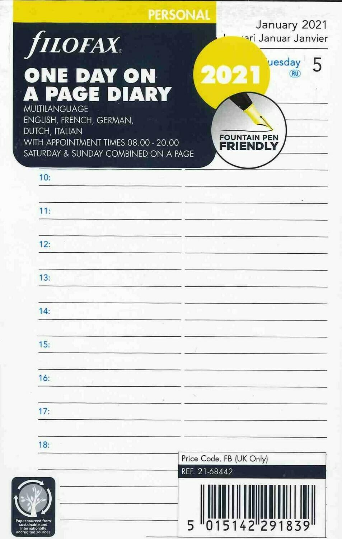Filofax Agendavulling Personal 1 dag per blad 2021