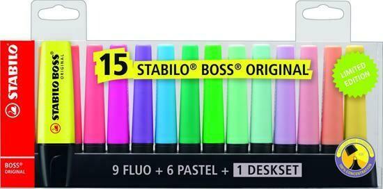 Stabilo Boss fluo stiften tray van 15