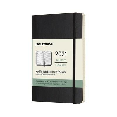 Moleskine Agenda large weekly notebook zwart 2021 soepele kaft