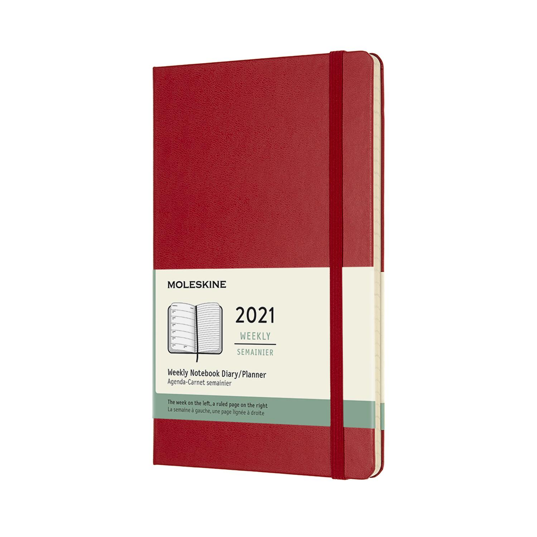 Moleskine Agenda large weekly notebook rood 2021 harde kaft