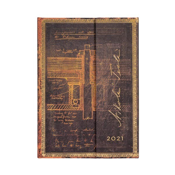 Paperblanks agenda 2021 TESLA , Sketch of a turbine - MIDI