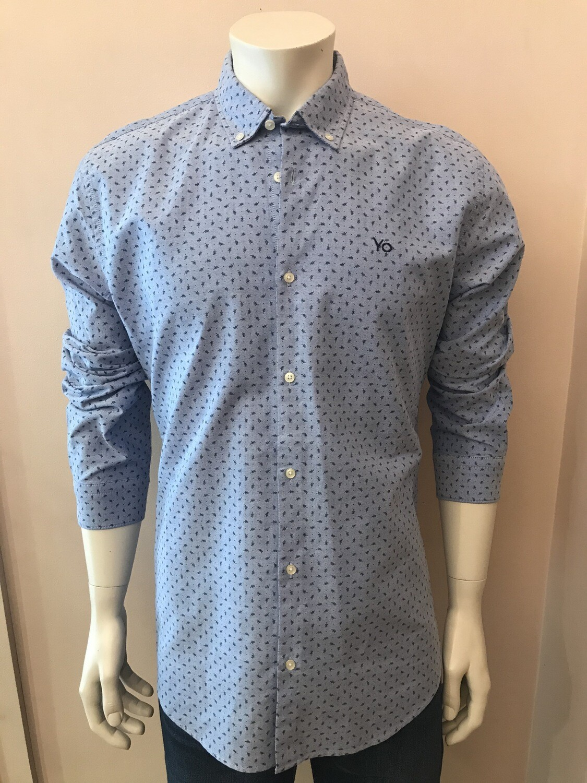 Shirt, L/S, feather uni blue