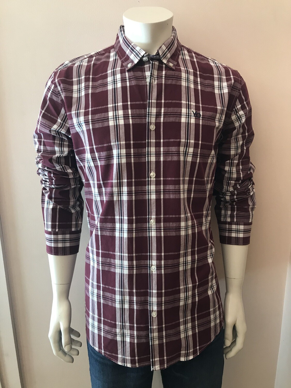 Shirt, L/S, square burgundy