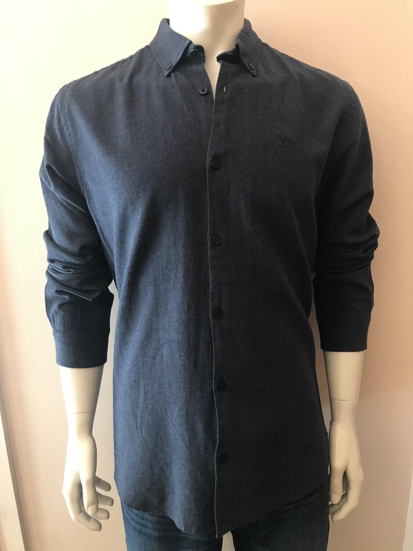 Shirt, L/S, flan, uni d blue