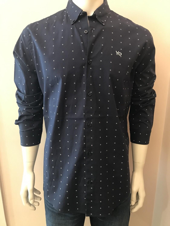 Shirt, L/S, cross, blue
