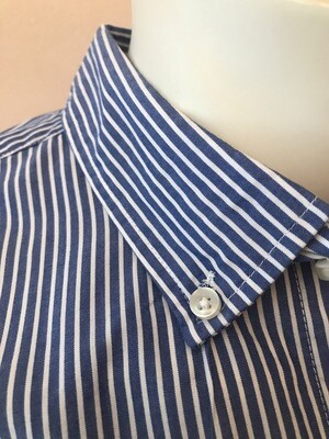 Shirt, L/S, pinstripe, blue