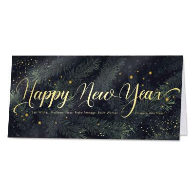 Wenskaart Happy New Year op beeld van dennetakken