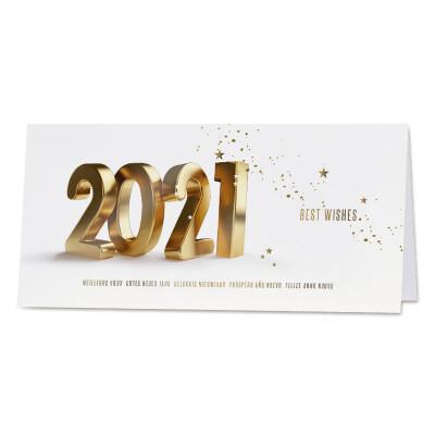 Nieuwjaarskaart met 2021 en sterrenconfetti