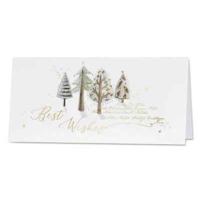 Vrolijke wenskaart met bomen in aquarel en goudfolie - Best Wishes